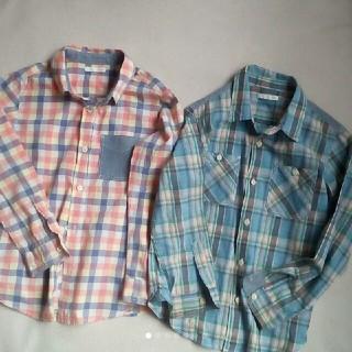 ジーユー(GU)のGU キッズ チェックシャツ 2点セット サイズ 130(Tシャツ/カットソー)