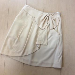 プーラフリーム(pour la frime)のスカート pour la frime リボン  バックゴム S ベージュ(ひざ丈スカート)