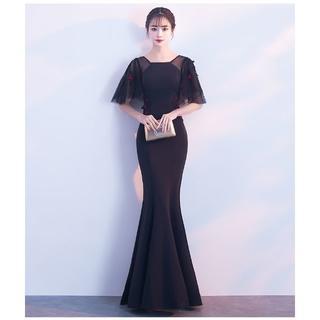 f09e1f6df2764 カラードレス 黒 マーメイドライン ワンピース ロング 優雅なシルエット オーダ(ウェディングドレス)