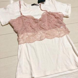 5cbabdca97fdc シマムラ(しまむら)の新品 未使用 しまむら レースビスチェ セット Tシャツ カットソー(