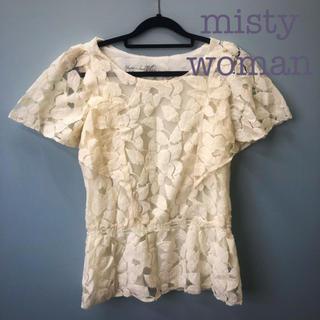 ミスティウーマン(mysty woman)のmisty woman 花柄レーストップス(カットソー(半袖/袖なし))
