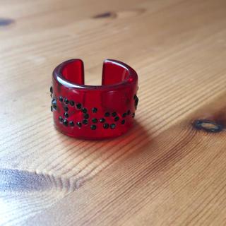 クリスチャンディオール(Christian Dior)の●DIOLクリスチャンディオール/指輪  赤×黒 アクリル クリアリング12号(リング(指輪))