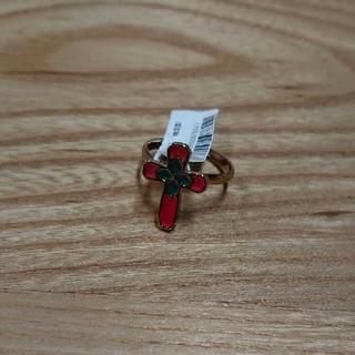 赤色クロスモチーフリング 新品未使用(リング(指輪))
