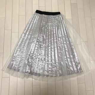 シマムラ(しまむら)の白 ホワイト チュール ゴム 黒 ブラック スカート ロング(ロングスカート)