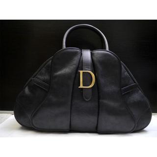クリスチャンディオール(Christian Dior)の美品★クリスチャンディオール サドルダブル エンボスレザー トート バッグ 黒(トートバッグ)