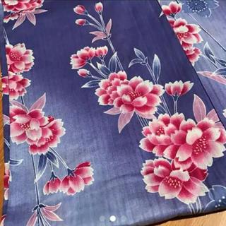 浴衣 紫 パープル ピンクの花 美品(浴衣)
