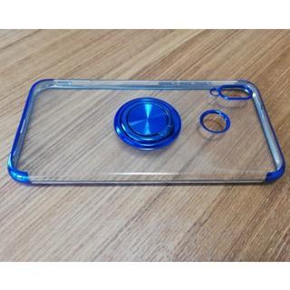 アンドロイド(ANDROID)のHuawei P20lite マグネットリング付きオシャレケース ブルー(Androidケース)