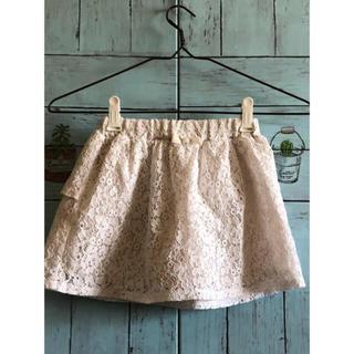 ジーユー(GU)の美品 GU オフホワイトレースインナーパンツ付 スカート フリルリボン 120 (スカート)