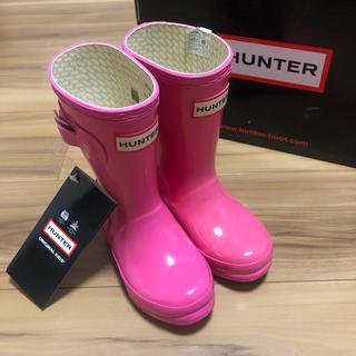 ハンター(HUNTER)の【新品未使用】HUNTER 長靴 ラバーブーツ ピンク 14cm(長靴/レインシューズ)