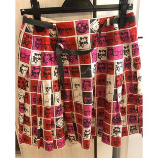 アッシュペーフランス(H.P.FRANCE)のアッシュペーフランス io 総柄ベルト付きスカート(ひざ丈スカート)