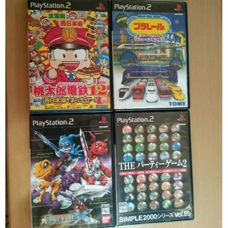 プレイステーション2(PlayStation2)のPS2 プラレール・桃太郎電鉄12・デジモンワールドX 等4本(家庭用ゲームソフト)