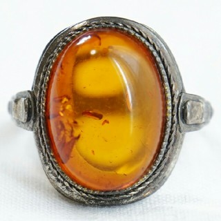 ★西洋アンティーク 天然琥珀 シルバー925 リング★ バルチックアンバー 指輪(リング(指輪))