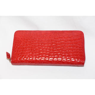 0ffa74d5311a ヘンローン社 シャイニング クロコダイル ワニ革 長財布 ラウンド 赤 レッド(財布)