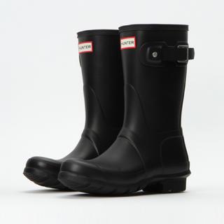 ハンター(HUNTER)のHUNTER ショートブーツ US 8 / 25cm 黒 ブラック(レインブーツ/長靴)