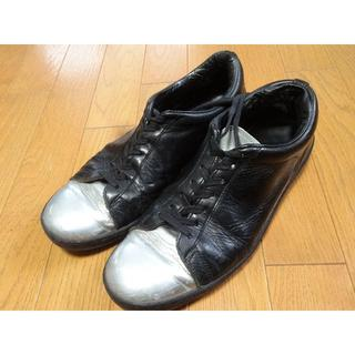 ラッドミュージシャン(LAD MUSICIAN)のラッドミュージシャン レザー スニーカー ブラック シルバー 靴 シューズ 黒(スニーカー)