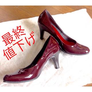美脚 ワイン7㎝ヒール KiBERA 日本製 レッド系(ハイヒール/パンプス)
