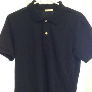 ジーユー(GU)の黒 無地 ポロシャツ(シャツ/ブラウス(半袖/袖なし))
