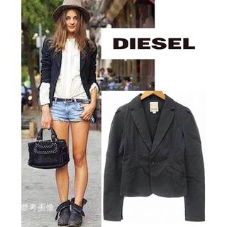 ディーゼル(DIESEL)のDIESEL テーラードジャケット ショート丈 XL 黒 大きいサイズ(テーラードジャケット)