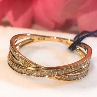 k18 18金 天然ダイヤモンド リング(リング(指輪))