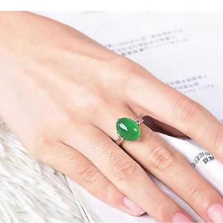 天然石エメラルドグリーンカルセドニー リング シルバー925(リング(指輪))
