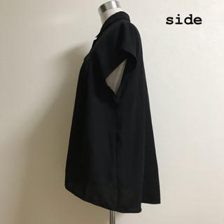 ジーユー(GU)のGU エアリーシャツ ブラック(シャツ/ブラウス(半袖/袖なし))
