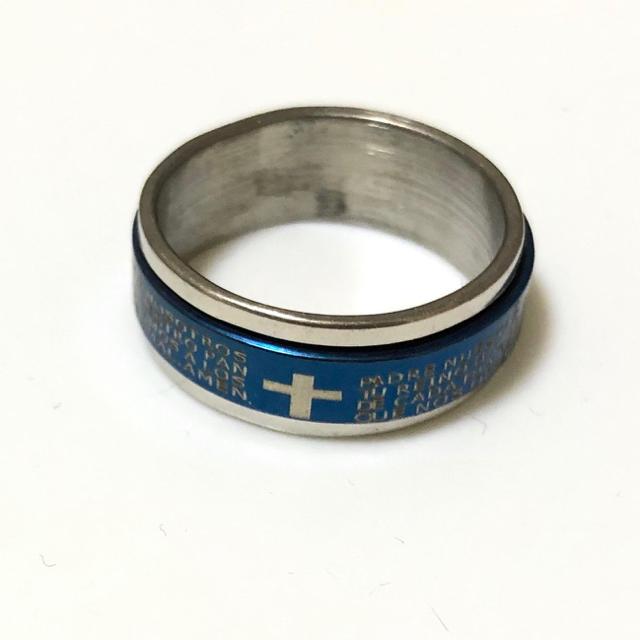 同時購入で300円 ステンレス指輪クロス回転ブルー メンズのアクセサリー(リング(指輪))の商品写真