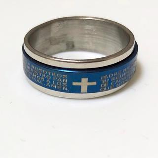 同時購入で300円 ステンレス指輪クロス回転ブルー(リング(指輪))