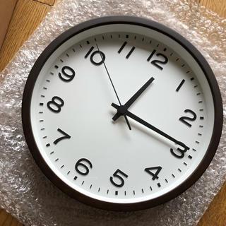 ムジルシリョウヒン(MUJI (無印良品))の無印アナログ時計 大  掛時計・ブナ材 ダークブラウン(掛時計/柱時計)