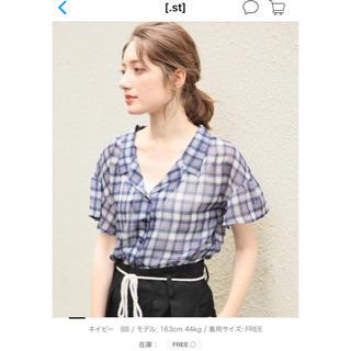 ヘザー(heather)のヘザー ブルーチェックシャツ(シャツ/ブラウス(半袖/袖なし))