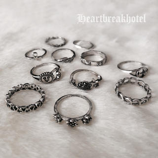 ♡ Vintage Silver Boho Rings set(リング(指輪))