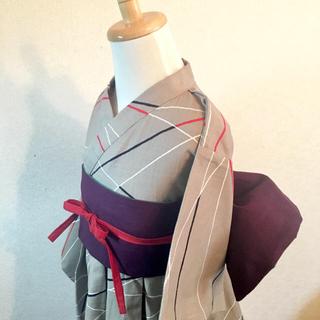 ◼︎サイズ 110〜120*フレア浴衣&リバーシブル帯+帯リボン(甚平/浴衣)