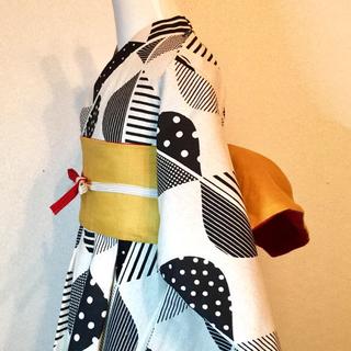 ◼︎ サイズ 110〜120*フレア浴衣&リバーシブル帯+帯リボン  (甚平/浴衣)