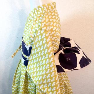 ◼︎ サイズ 100〜110*フレア浴衣&リバーシブル帯+帯リボン  (甚平/浴衣)
