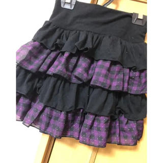 cecile - 紫チェックティアードスカート