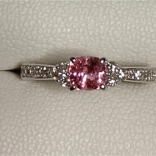 PT900  パパラチアサファイア ダイヤモンドリング(リング(指輪))