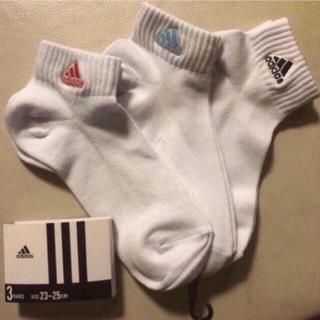 アディダス(adidas)の新品 アディダス 靴下 3色 3足セット 白 クルーソックス  23~25cm(ソックス)