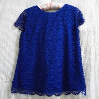 ギャップ(GAP)のGAPレディースブラウスレース半袖藍色ロイヤルブルー(シャツ/ブラウス(半袖/袖なし))