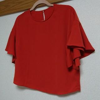 ジーユー(GU)のジーユー GU ブラウス ワイドスリーブ オレンジ レディース(シャツ/ブラウス(半袖/袖なし))