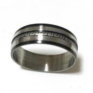 ステンレス指輪 ライン模様黒(リング(指輪))
