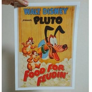 ディズニー(Disney)のヴィンテージプルートとチップとデールポスター(額絵)+1枚おまけ(ポスター)