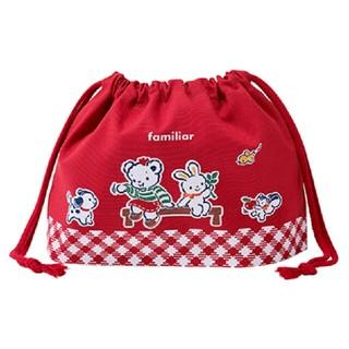 ファミリア(familiar)の包装☆ファミリア ランチ巾着 赤(ランチボックス巾着)