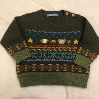 ファミリア(familiar)のファミリア オリーブ色ニット セーター 80(ニット/セーター)