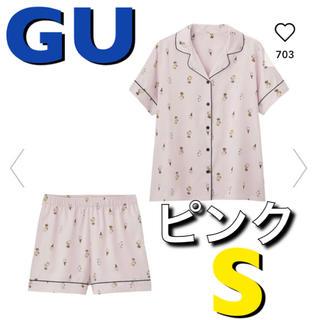 ジーユー(GU)の新品 完売 入手困難 GU スヌーピー パジャマ ルームウェア S ピンク(パジャマ)