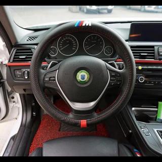 ビーエムダブリュー(BMW)のBMW ///M ステアリングホィールカーボン調カバー ハンドルカバー レザー黒(車種別パーツ)