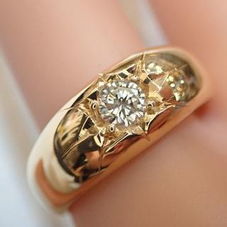 ■K18五光留め0.34ctダイヤモンド月形甲丸リング 12.1g■メンズ 指輪(リング(指輪))