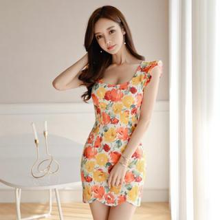 3d0ddfa34a964 送料無料♡即納♡キャバドレス 407P 花柄ミニドレス オレンジ 黄色(