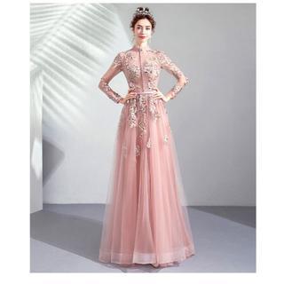 09737ab6a8677 カラードレス ピンク ポリエステル 編み上げ 長袖 花柄のモ(ウェディング ...
