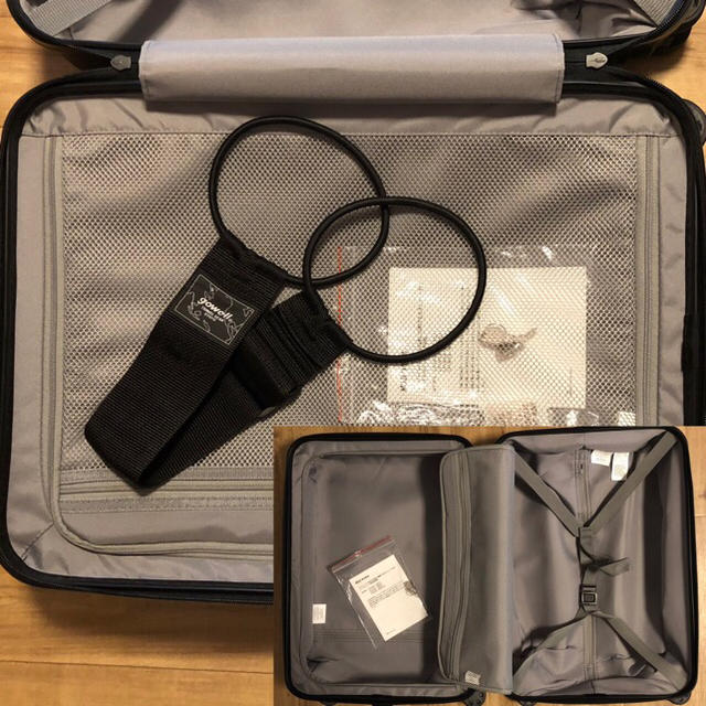 MUJI (無印良品)(ムジルシリョウヒン)の無印良品 ストッパー付きハードキャリーケース 35L ネイビー おまけ付き レディースのバッグ(スーツケース/キャリーバッグ)の商品写真