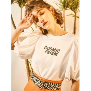 リリーブラウン(Lily Brown)のリリーブラウン パフスリーブTシャツ ホワイト 新作 未使用タグ付き(Tシャツ(半袖/袖なし))