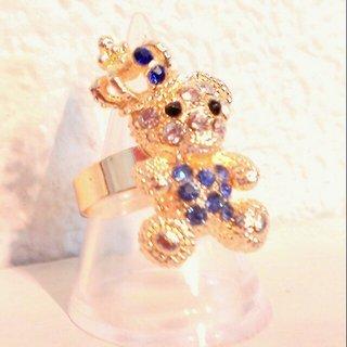 ☆スワロフスキー風のクマの指輪☆(リング(指輪))